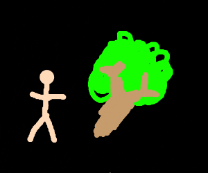 Nude man and a tree