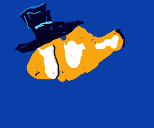A mad clown fish with a top hat.