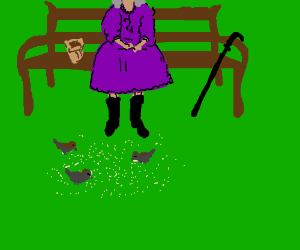 Old lady on park bench feeding birds