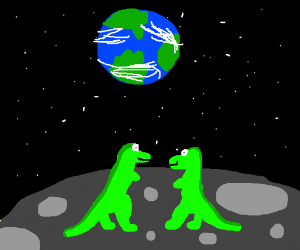 two dinosaurs on the moon