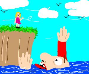 Lady sees man drown
