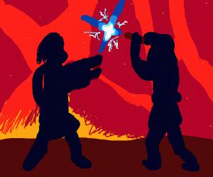 Anakin and Obi-wan fighting on Mustafar