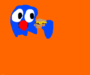 Pacman ghost + orange background eating thing?