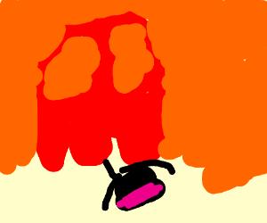 giant red skull eating ninja with pinkheadband