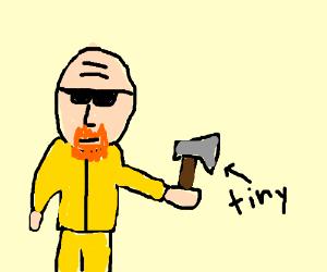 bald man w/ shades holding tiny hatchet
