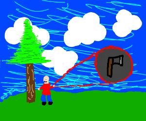 man with tiny axe
