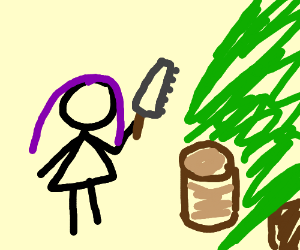 Purple haired girl cuts log with saw