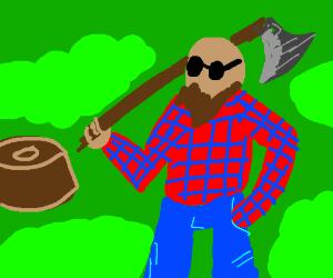 Lumberjack with Purple Hair