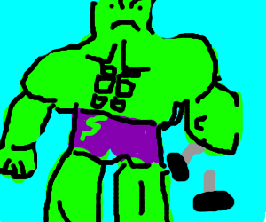 A furious hulk breaking a dumbell