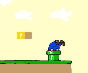 Mario stuck head first in warp pipe