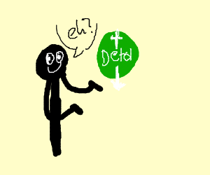 "man presenting the word ""detol"""