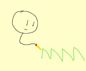 Man draws grass thingy