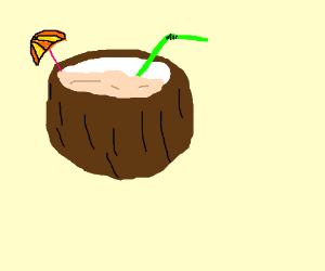 Coconut Drink With Straw And Tiny Umbrella