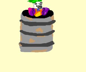 Joker hiding in a barrel of oil
