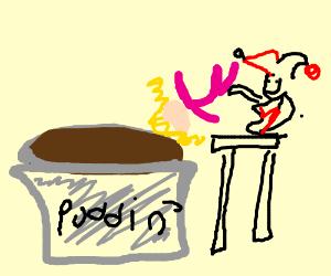 Girl falls inside of pudding