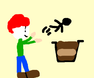 Clown throwing someone into pudding