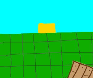 A Minecraft landscape, sunny day