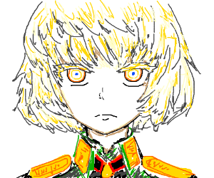 Blond Anime Boy in Military Uniform