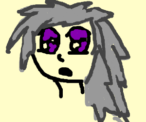 Anime Girl With Purple Eyes And Grey Hair Drawing By Mackeely