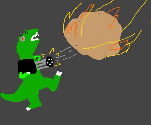 Dinosaur fires a gun at a meteor.