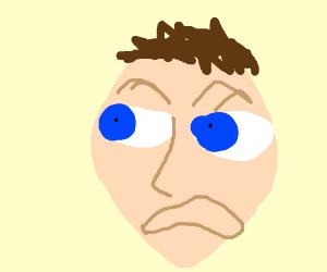 wide blue eye'd person is traumatized