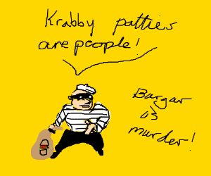 A burger yelling KRABBY PATTIES ARE PEOPLE!
