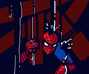Spiderman being attacked by black droopy stuff