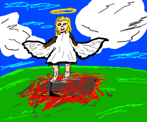 Angel rises out of Hell
