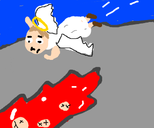 Angel flying over bloody pit