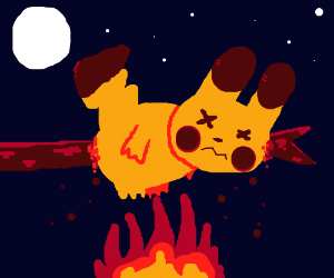 roasting pikachu over fire
