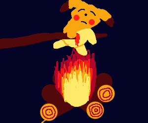 roasting pikachu on a campfire :)