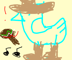 cyan bird likes to party in sombrero and uggs