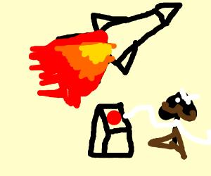 Rocket being shot by arrow