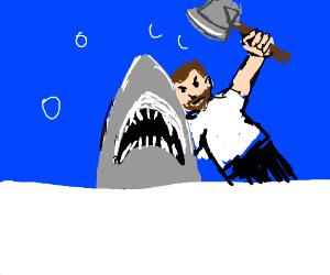Bearded man wielding an axe at JAWS