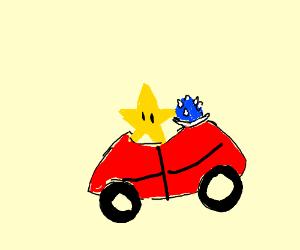 Mario Star Driving Mario Kart