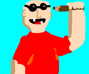 weird balding man with glasses and a pencil