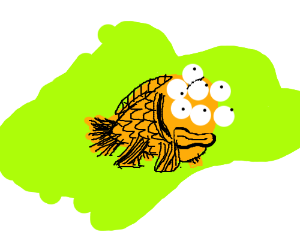 Mutated fish with multiple eyes.