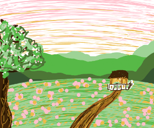 Tiny cottage in a spring meadow