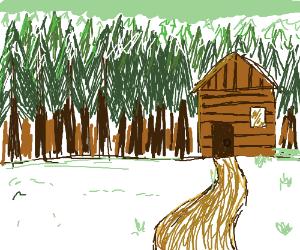 Quiet winter cabin in the woods scene