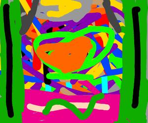 Cactus worships sneke in purple desert