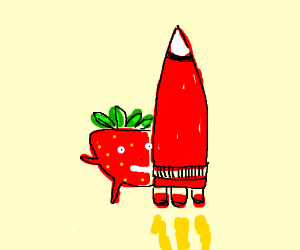 A strawberry standing behind a red rocket