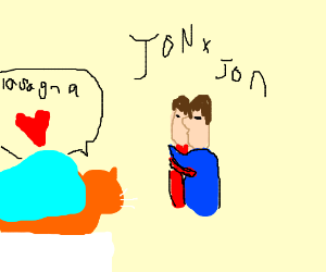Garfield watches a steamy jon x jon makeout