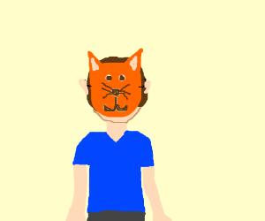 Man wearing a cat mask