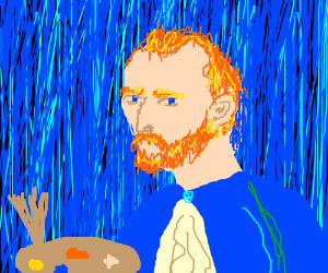vincent van gogh holding a paint palette