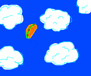 a taco falling from the sky