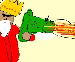 King shoots green gun