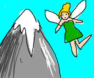 Tinker Bell flying towards a mountain