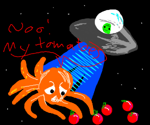 Octopus is abducted and concerned for tomatoes