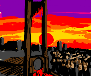 Bloody Guillotine at Sunset
