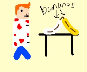 bloodied ginger scientist examines whitebanana